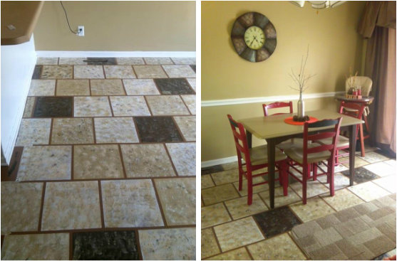 Painting linoleum vinyl floors chicly cheap home decor for Painting vinyl floor tile